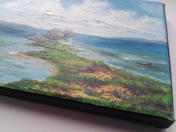 """Oil Painting Seascape Beach Ocean Mountains"" original fine art by Camille Morgan"