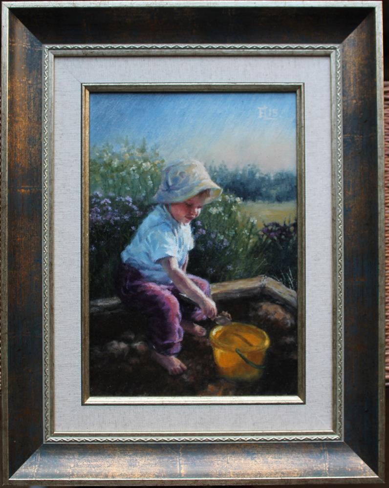 """At the Sandbox"" original fine art by Emilia Leinonen"