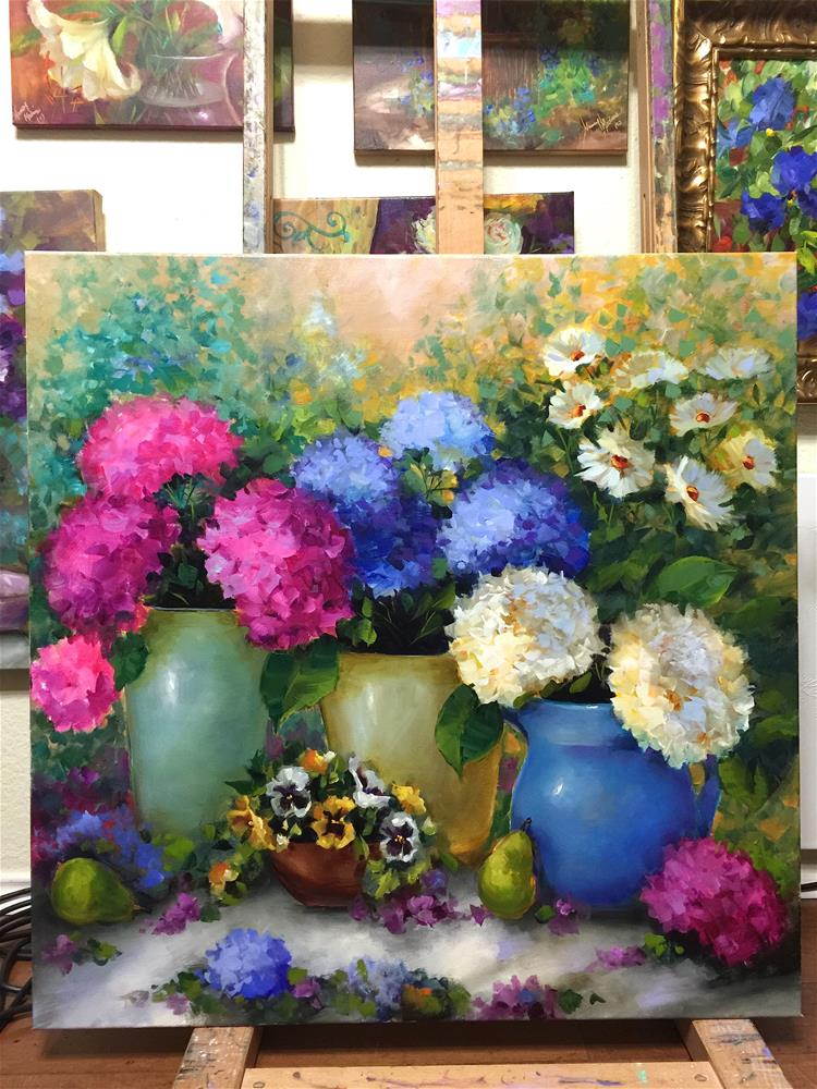 """Whispering Sky Hydrangeas and Artscape at the Dallas Arboretum"" original fine art by Nancy Medina"
