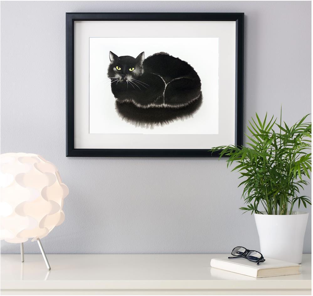 """""""Black Cat"""" original fine art by Olga Beliaeva"""