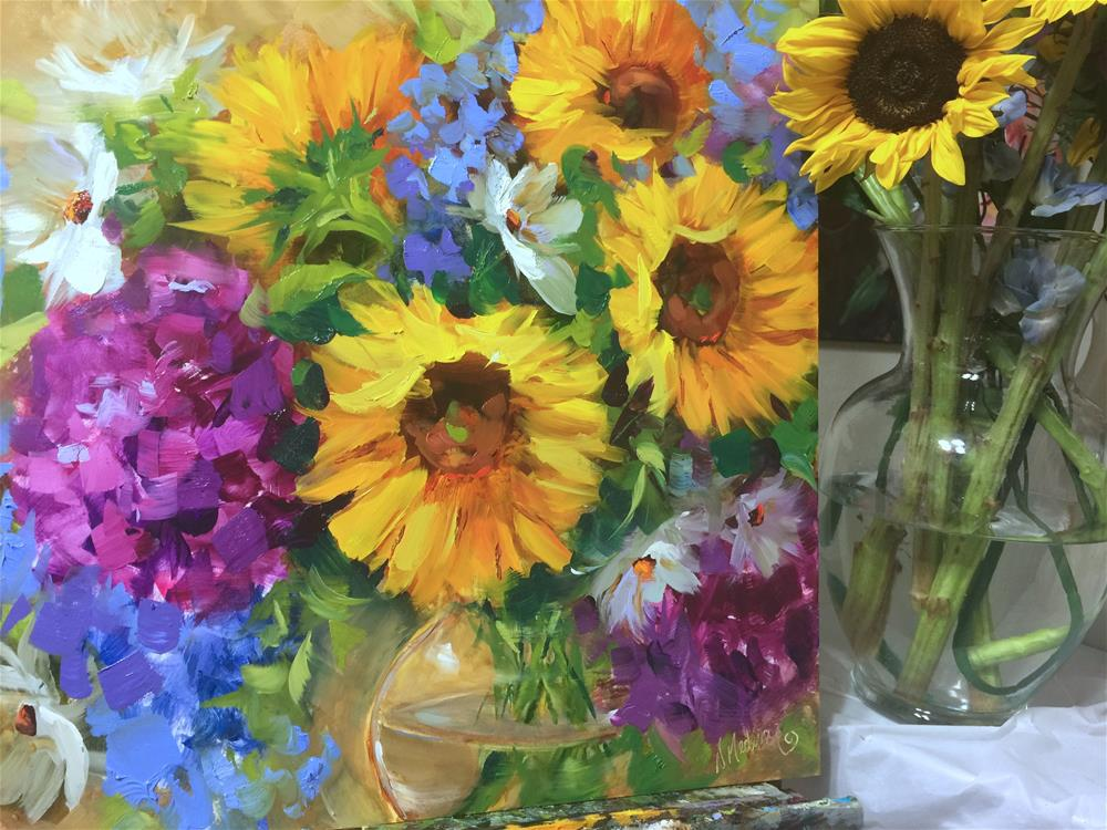 """Into the Sky Sunflower Bouquet and Brilliant Color Is Coming"" original fine art by Nancy Medina"