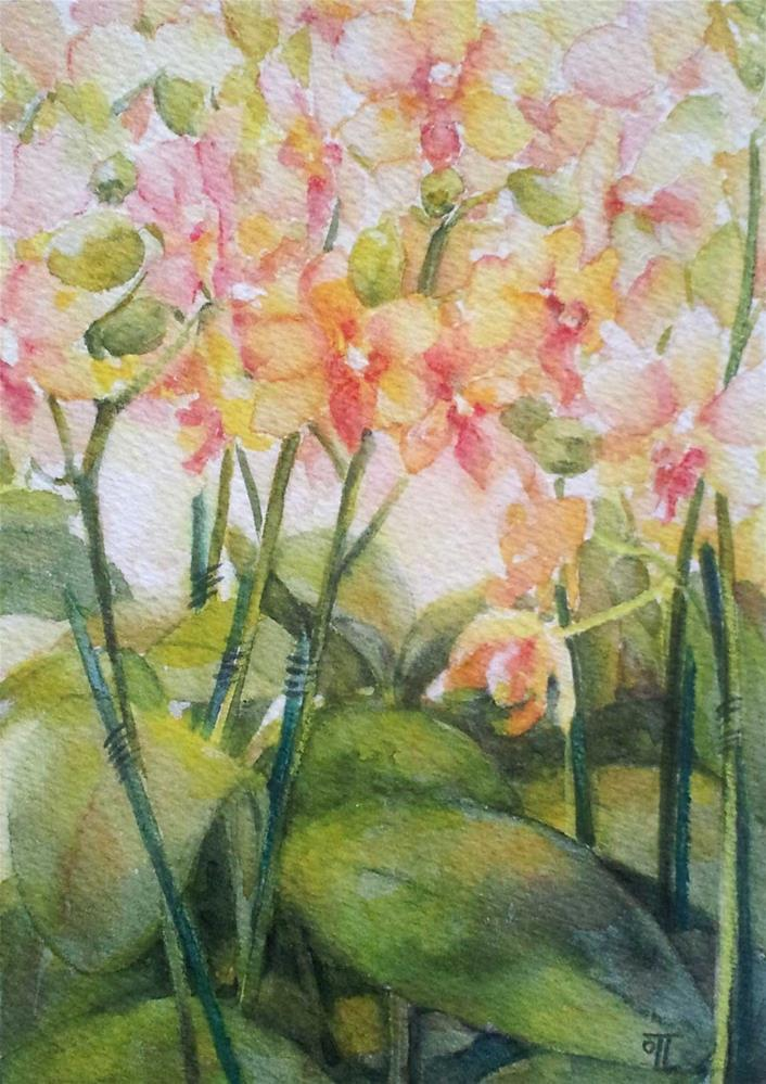 """DCS# 25 - Yellow orchids"" original fine art by Olga Touboltseva-Lefort"