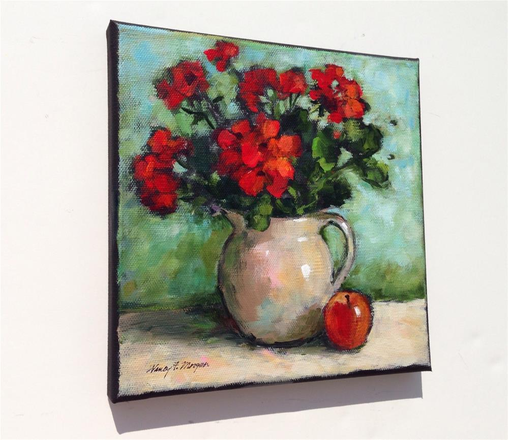 """Geraniums With Red Apple"" original fine art by Nancy F. Morgan"
