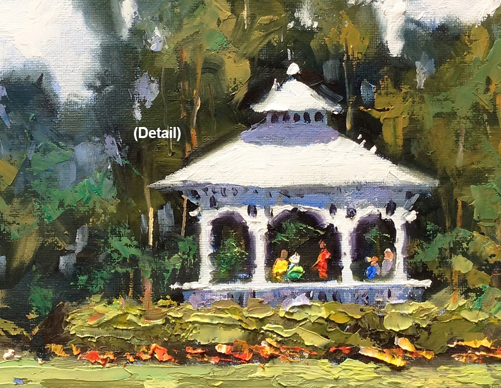 """WHITE GAZEBO, A DAY IN THE PARK"" original fine art by Tom Brown"