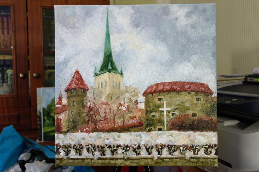 """old Tallinn view"" original fine art by Juri Semjonov"