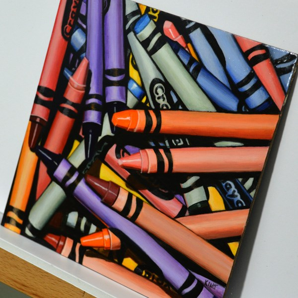 """Colorful Crayon Pile 2"" original fine art by Kim Testone"