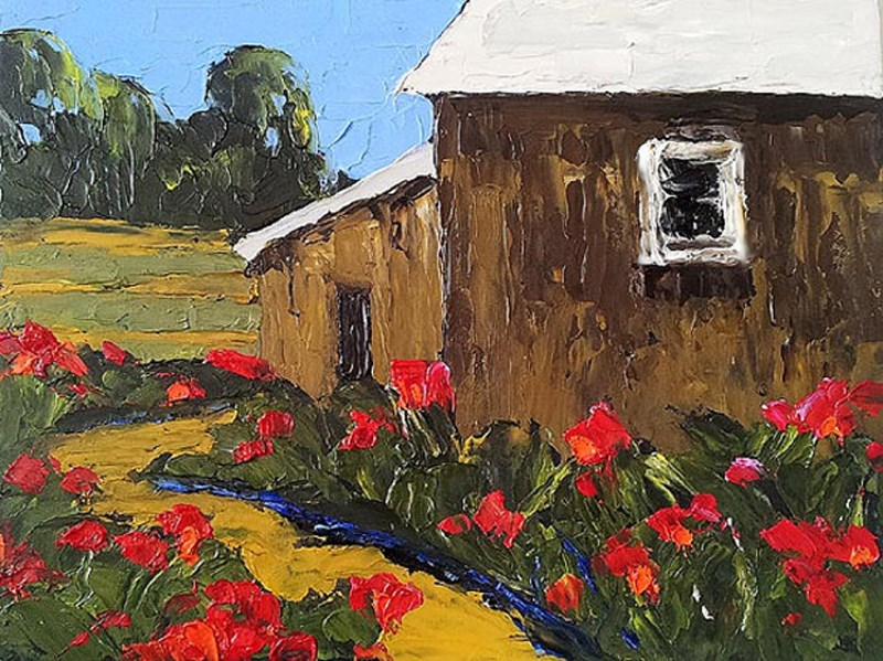 """Garden Barn"" original fine art by lynne french"