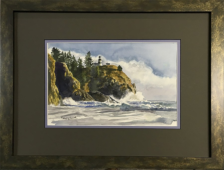 """Cape Disappointment light"" original fine art by Andy Sewell"