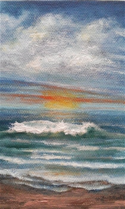 """Sunset Beach"" original fine art by Camille Morgan"