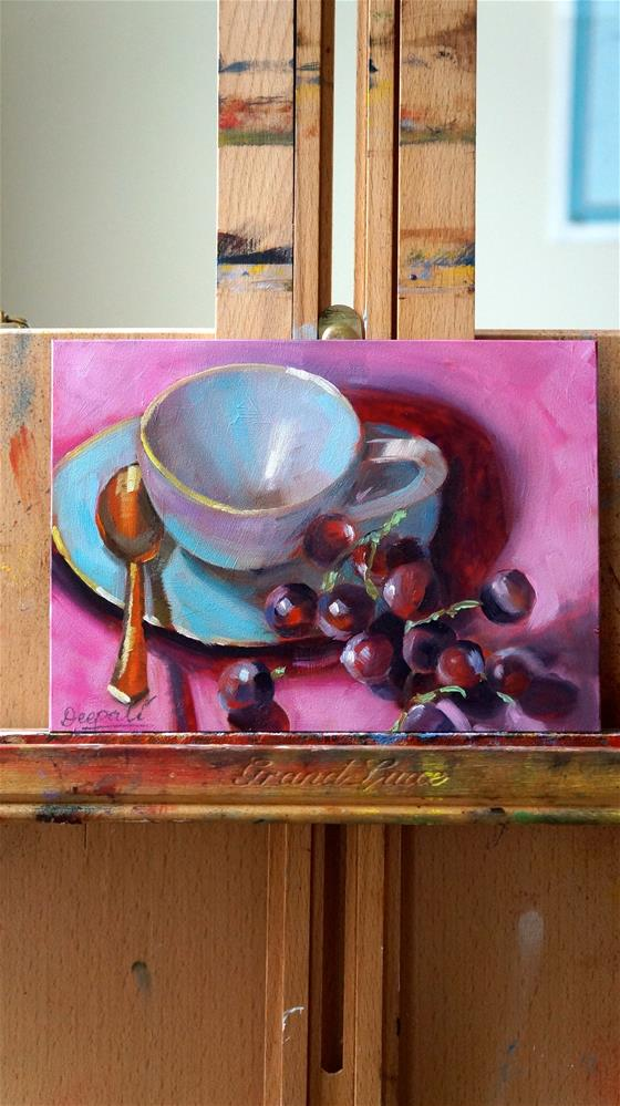 """Tea cup with Grapes"" original fine art by Dipali Rabadiya"