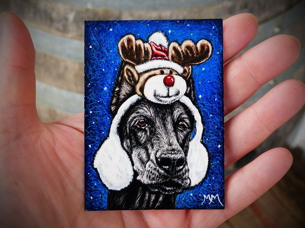 """Rudolph Ear Muffs"" original fine art by Monique Morin Matson"