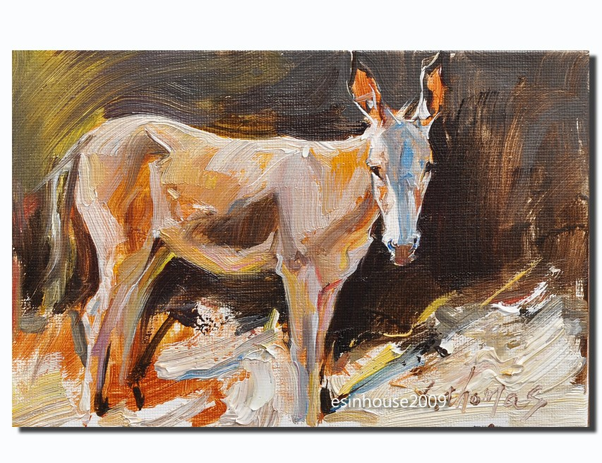 """12x18cm Animals Oil Painting donkey impressionism art new Artwork manuscript"" original fine art by Thomas Xie"