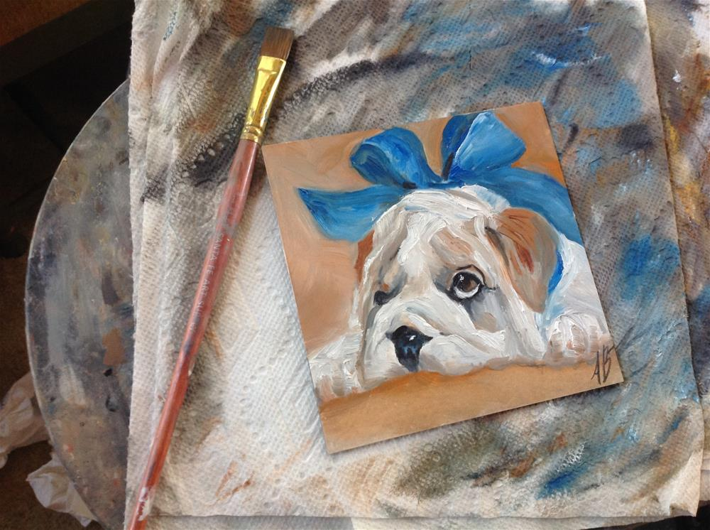 """A Puppy Gift"" original fine art by Annette Balesteri"