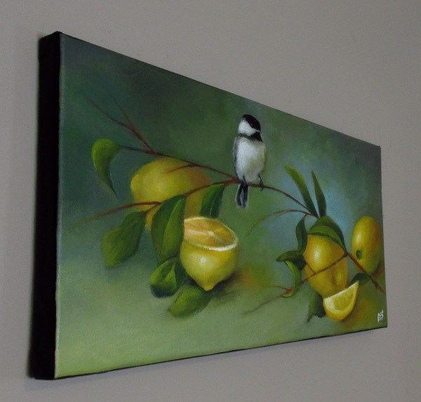 """Chickadee and Lemons"" original fine art by ~ces~ Christine E. S. Code"