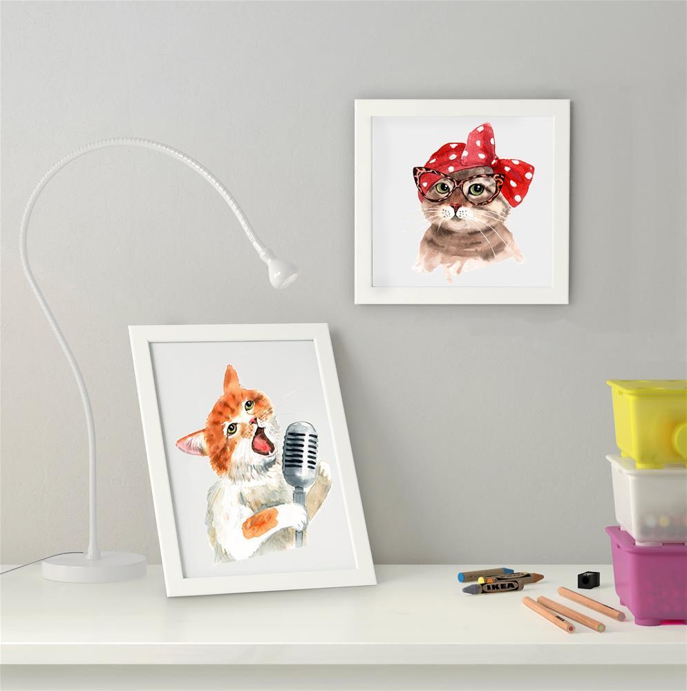 """""""Cat in Glasses - Retro Cat"""" original fine art by Olga Beliaeva"""
