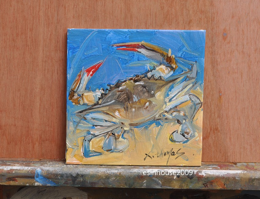 """Original Art, Crab Painting, Oil on Canvas, Blue Green, Orange, Tan seascape Art"" original fine art by Thomas Xie"