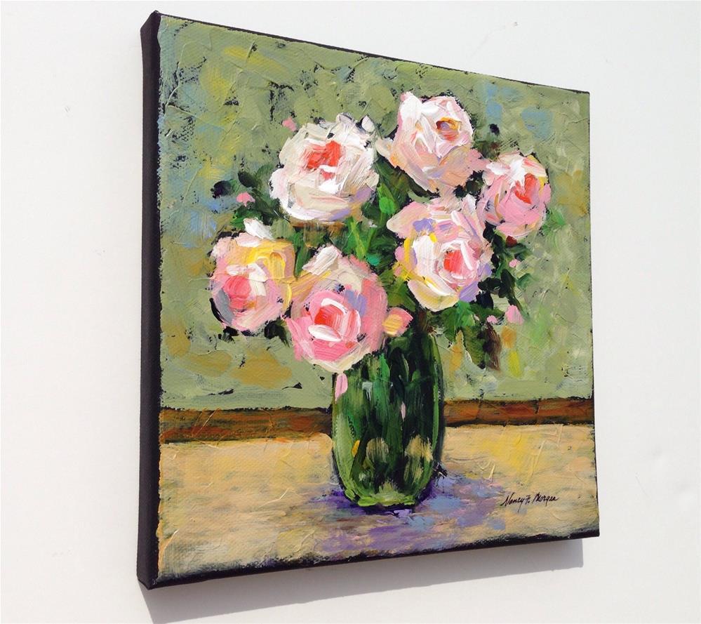 """Pink Roses"" original fine art by Nancy F. Morgan"