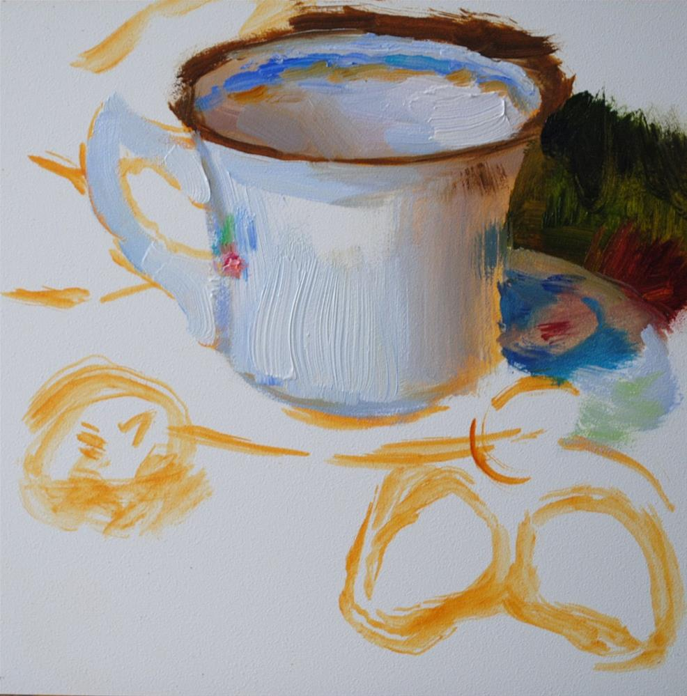 """Teacup and Strawberries (Commission)"" original fine art by Elena Katsyura"