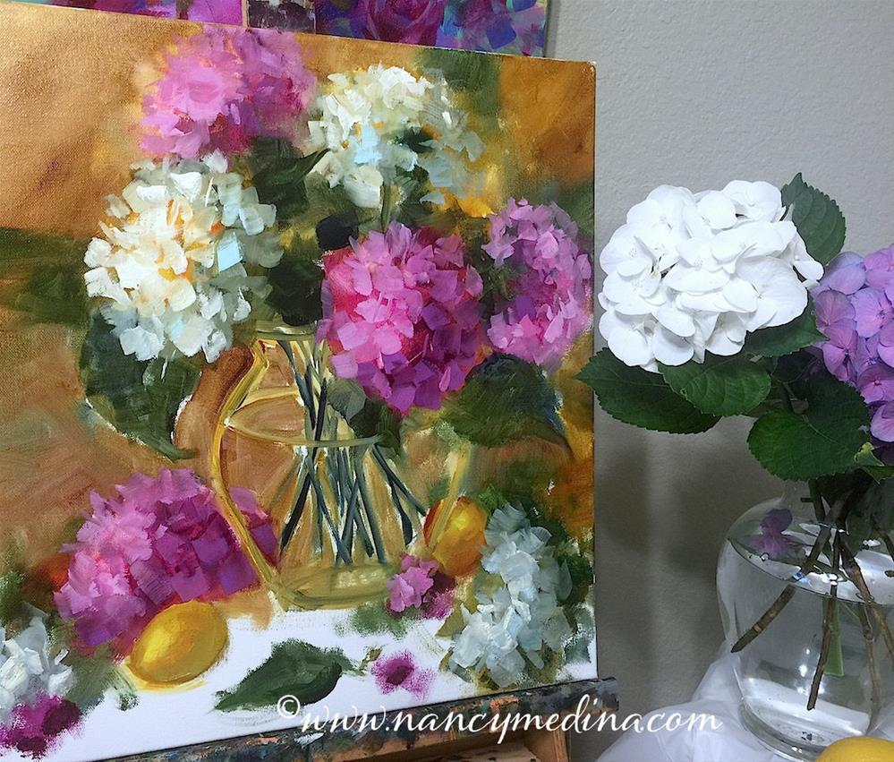 """How to Make Your Pinks Pop and The Chosen Hydrangeas"" original fine art by Nancy Medina"