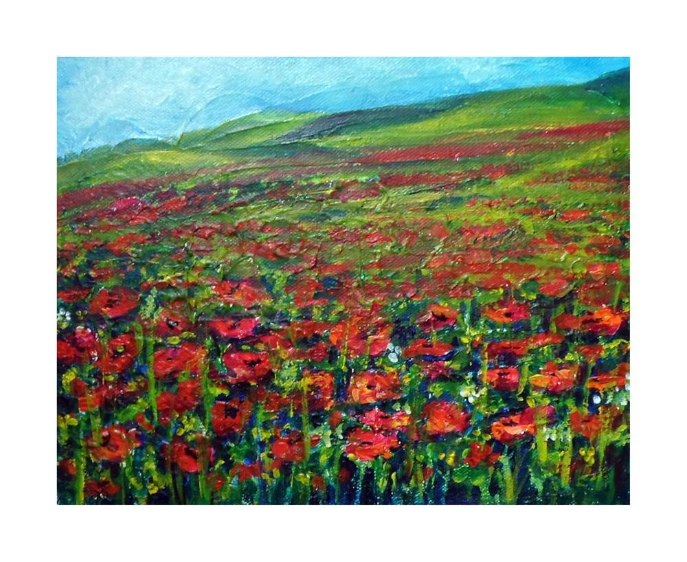 """""""Poppy field"""" original fine art by Asha Shenoy S"""