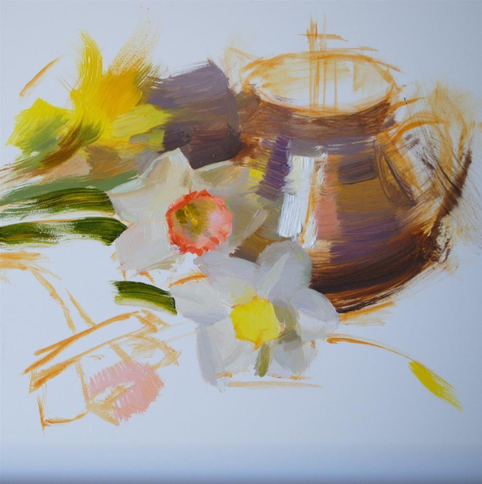 """Silver and Daffodil"" original fine art by Elena Katsyura"