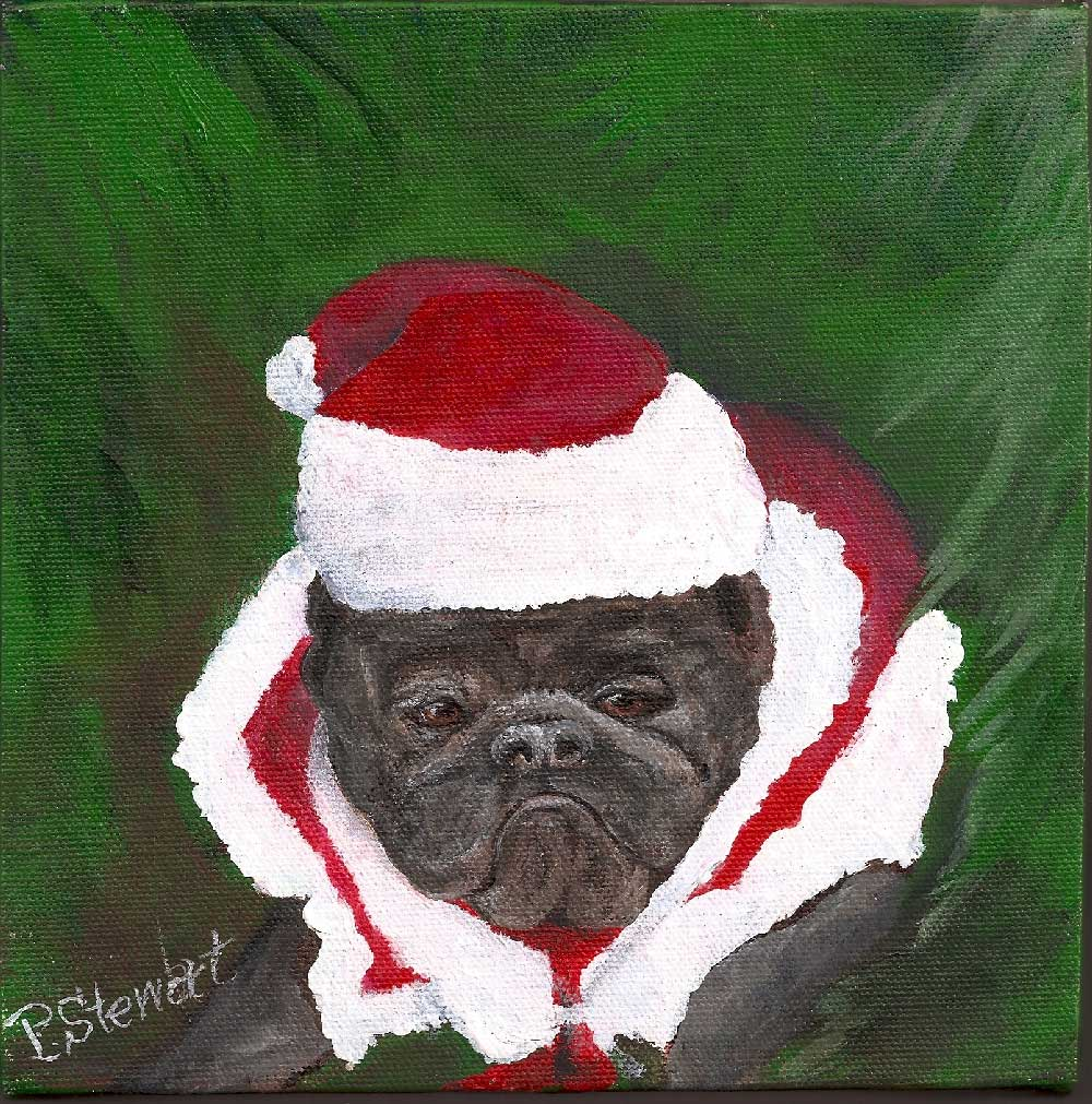 """Bah Humbug!  French Bulldog with Santa Hat."" original fine art by Penny Lee StewArt"