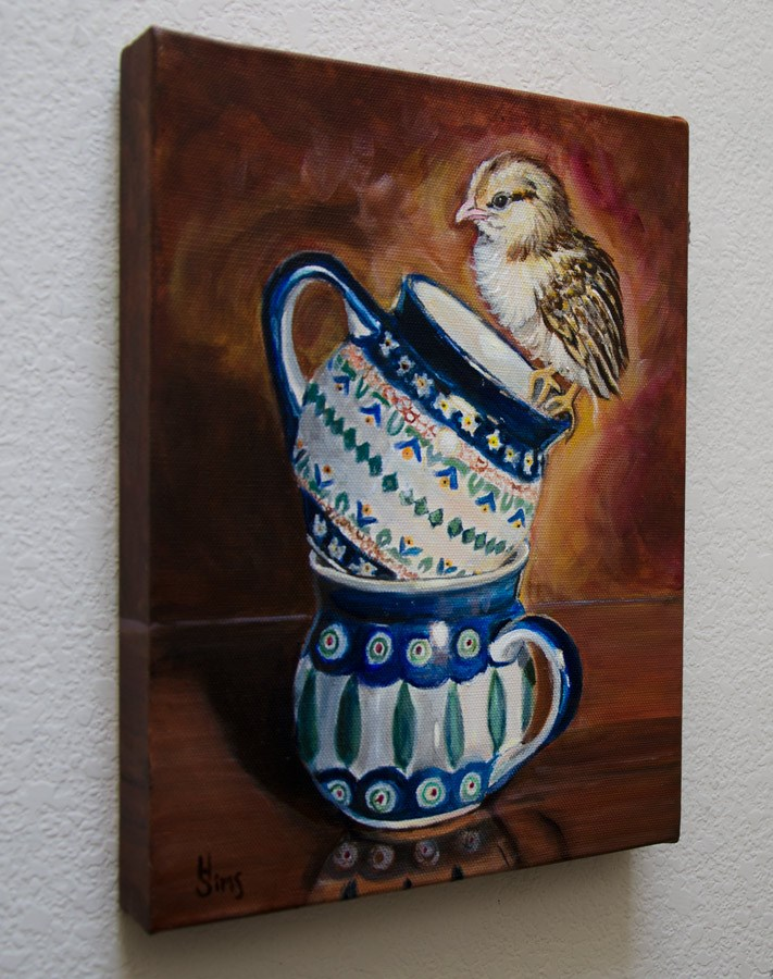 """Bubble Mugs and a Chick: Polish Pottery XCVI"" original fine art by Heather Sims"