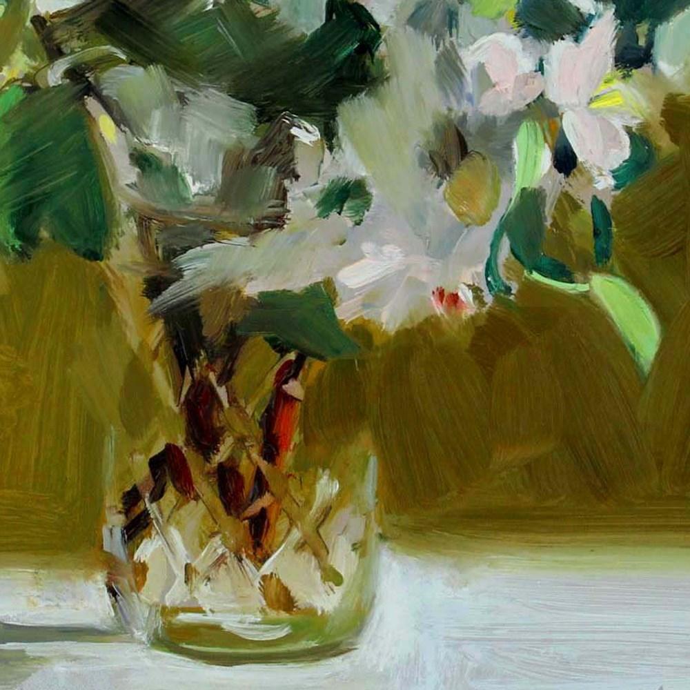 """Apple Blossoms and Jelly Jar"" original fine art by Gretchen Hancock"