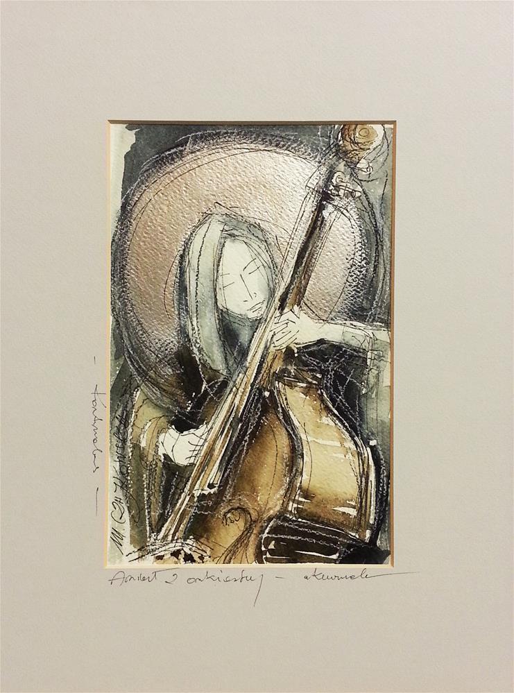 """Contrabassist"" original fine art by Marlena Czajkowska"