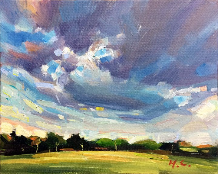 """Sunset on campus"" original fine art by Michelle chen"