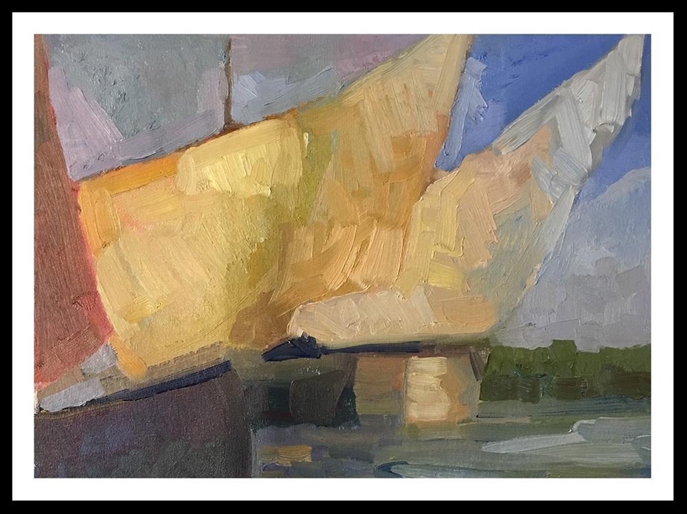 """Sails in the redondo sun"" original fine art by Sally Rosenbaum"