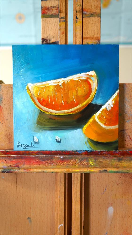 """Orange slices"" original fine art by Dipali Rabadiya"
