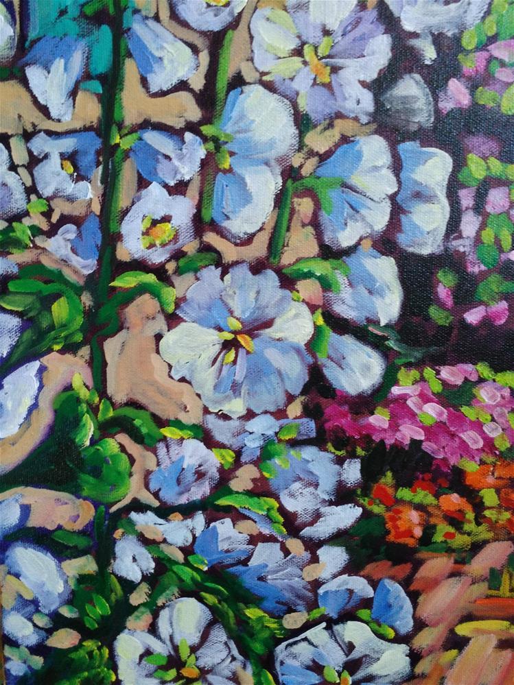 """Hollyhocks in Old Town Albuquerque"" original fine art by Robyn Wellman"