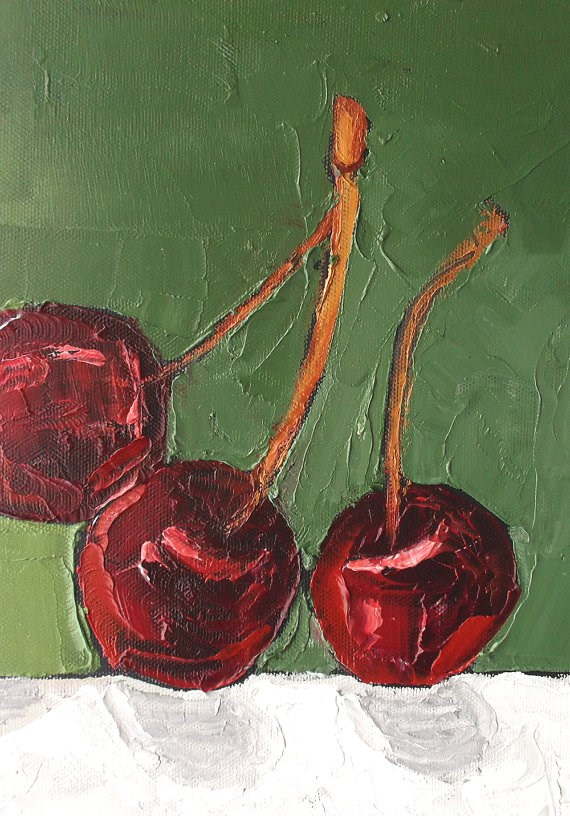 """Orchard Cherries"" original fine art by lynne french"