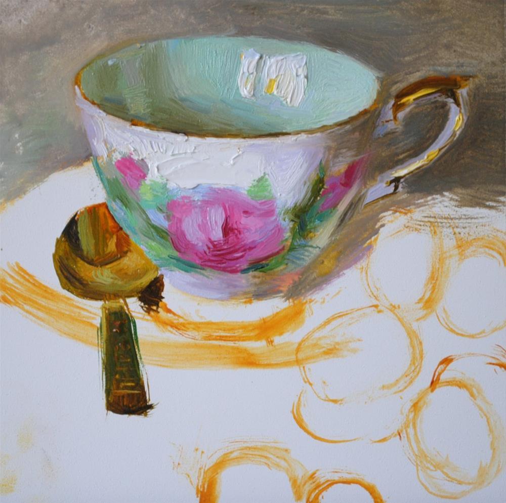 """Prelude Teacup and Grapes"" original fine art by Elena Katsyura"