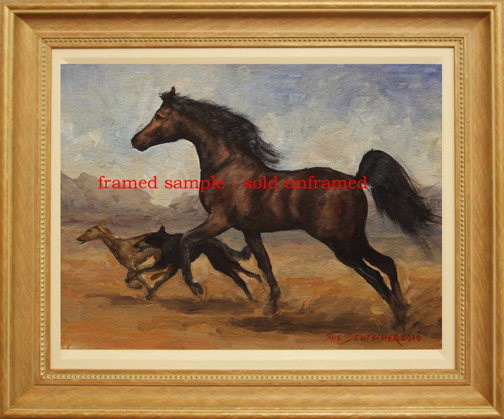 """Arabian Horse - Saluki Hounds"" original fine art by Sue Deutscher"