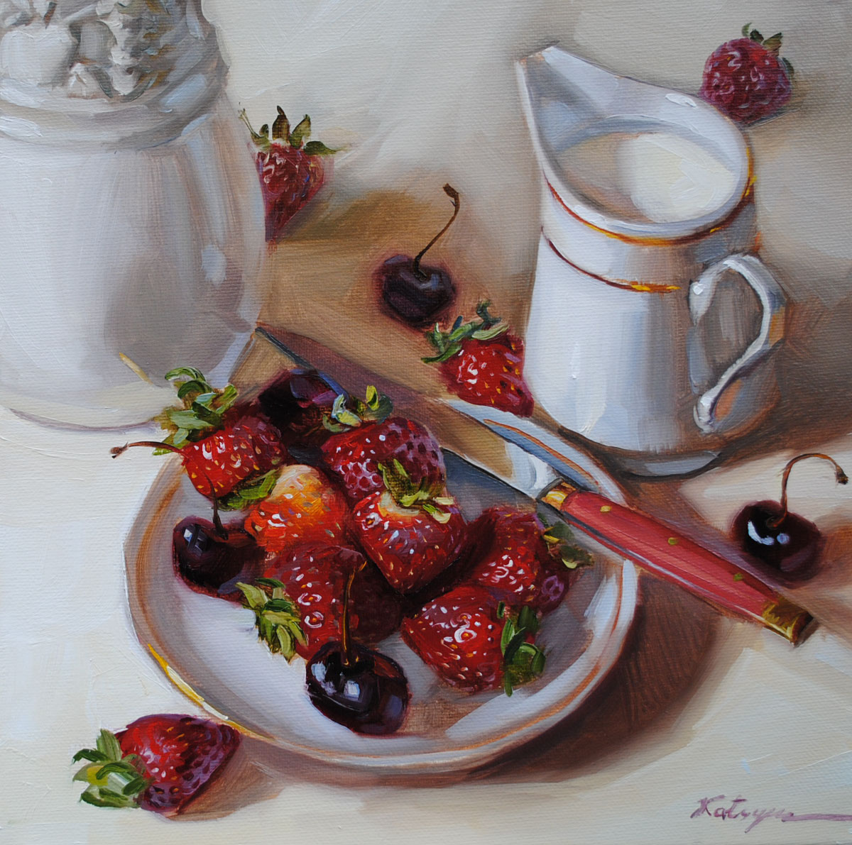 """Strawberries"" original fine art by Elena Katsyura"