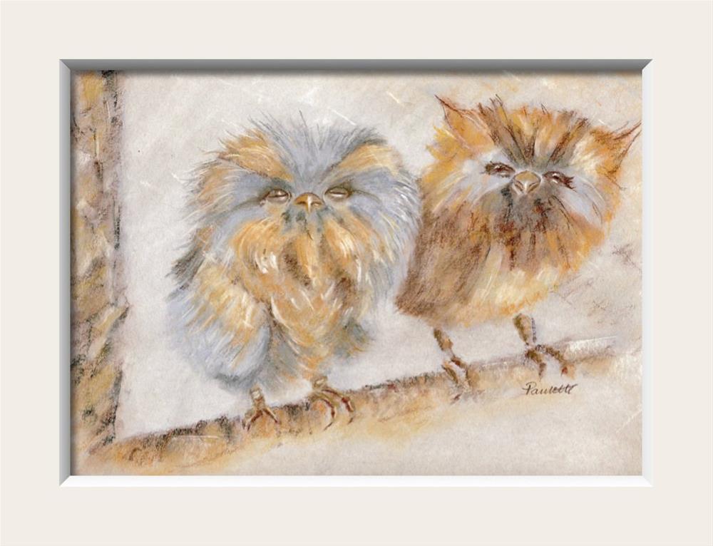 """Owl Babies"" original fine art by Paulette Farrell"