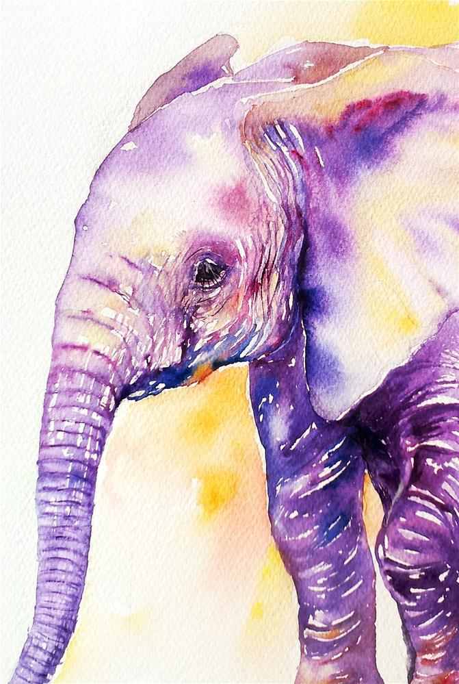 """Chipper the Baby Elephant"" original fine art by Arti Chauhan"
