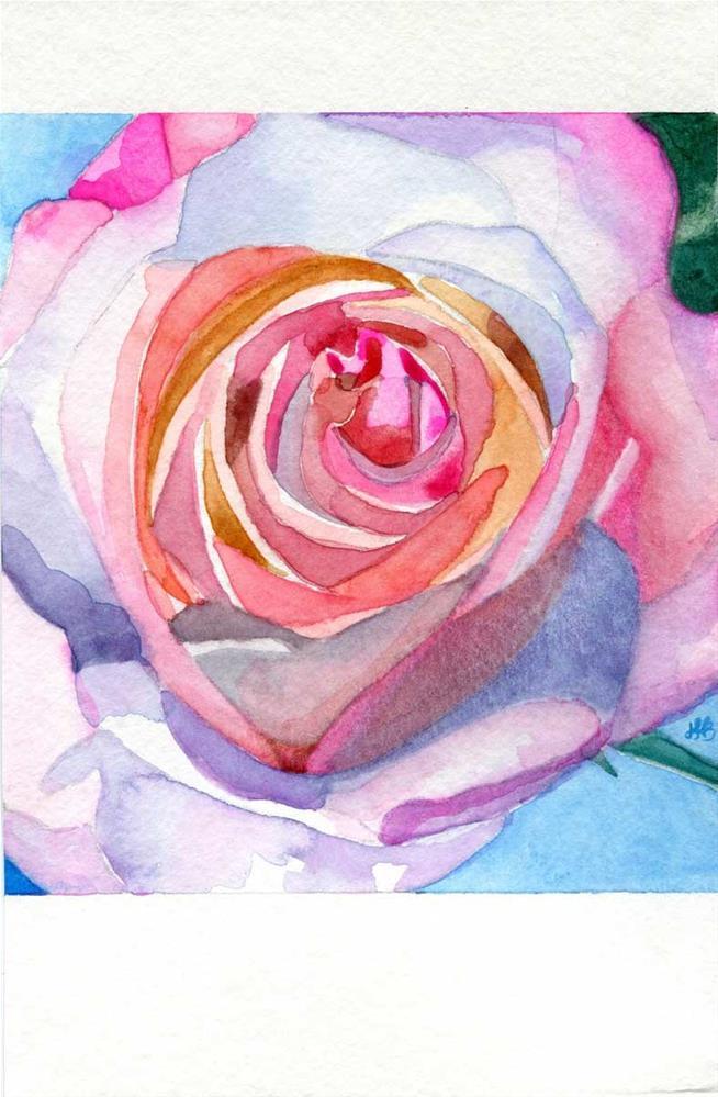 """Rainbow Rose No. 2"" original fine art by Heather Bennett"