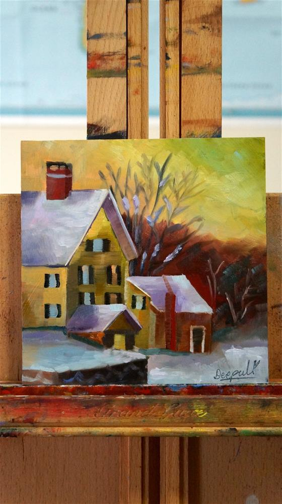 """House in snow"" original fine art by Dipali Rabadiya"