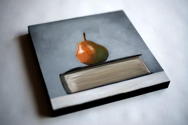 """Single Pear on a Book"" original fine art by Lauren Pretorius"