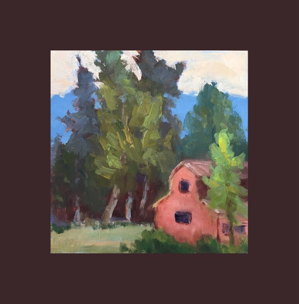 """Trees and Funny Little Barn"" original fine art by Victoria  Biedron"