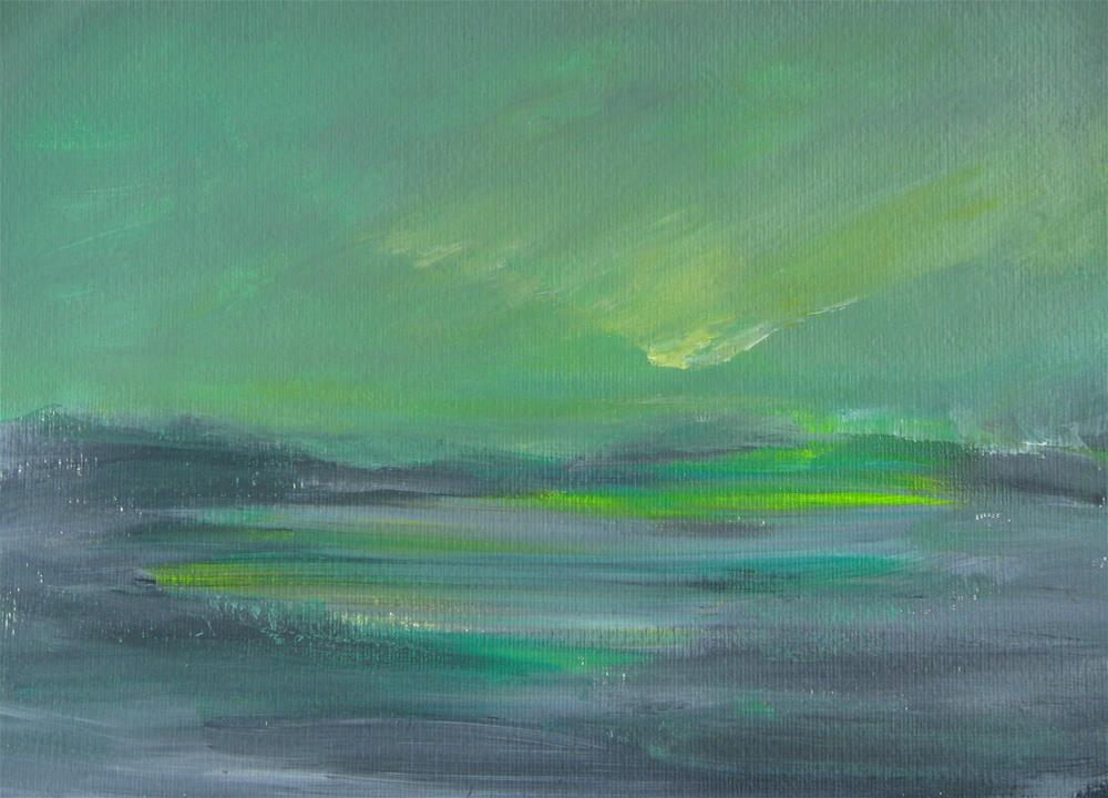 """Green Gray Landscape"" original fine art by Alina Frent"