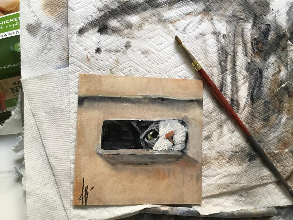 """Cat in cardboard box"" original fine art by Annette Balesteri"