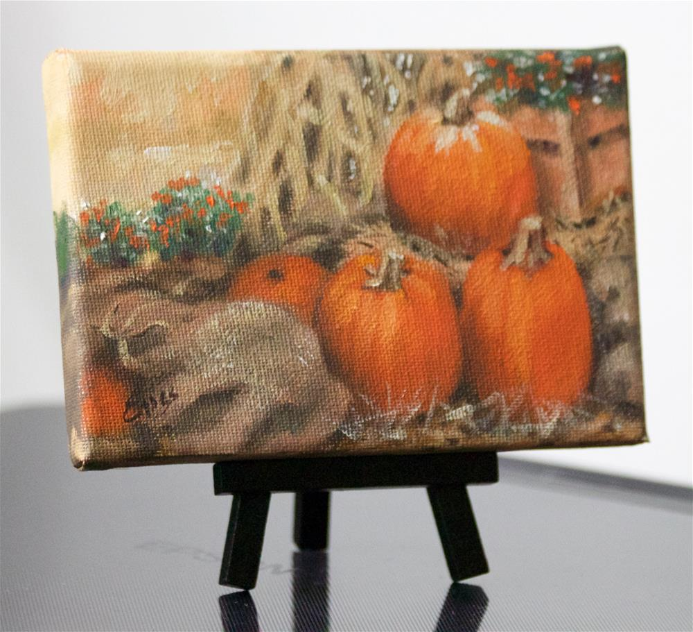 """Burlap Bags and Pumpkins"" original fine art by Linda Eades Blackburn"