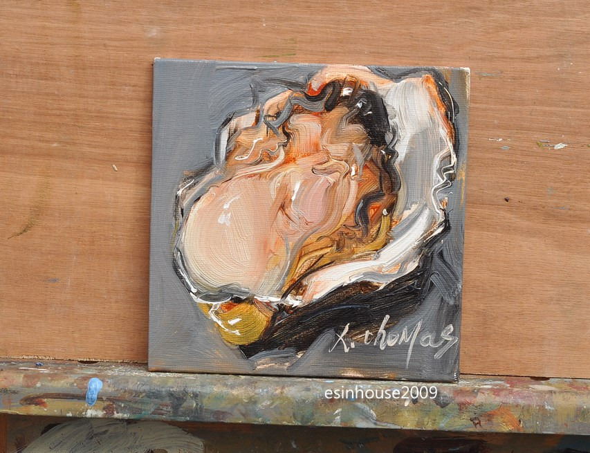 """Delicious sea animals shell OYSTER Original Paintings Minimalist style"" original fine art by Thomas Xie"