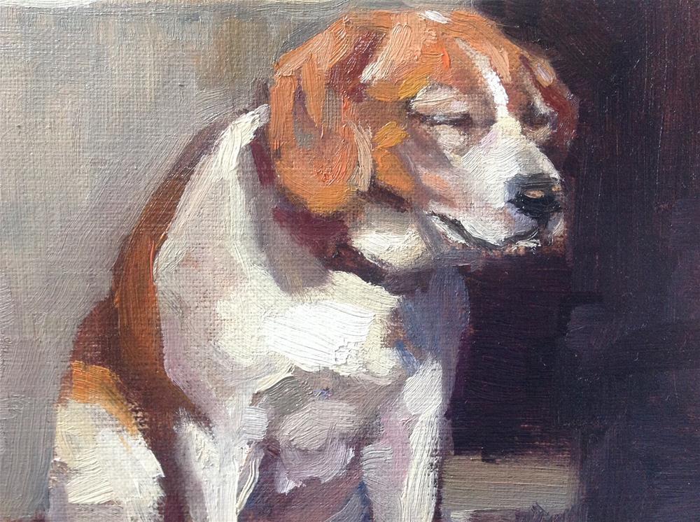 """Dog in the winter slun"" original fine art by Christine Bayle"