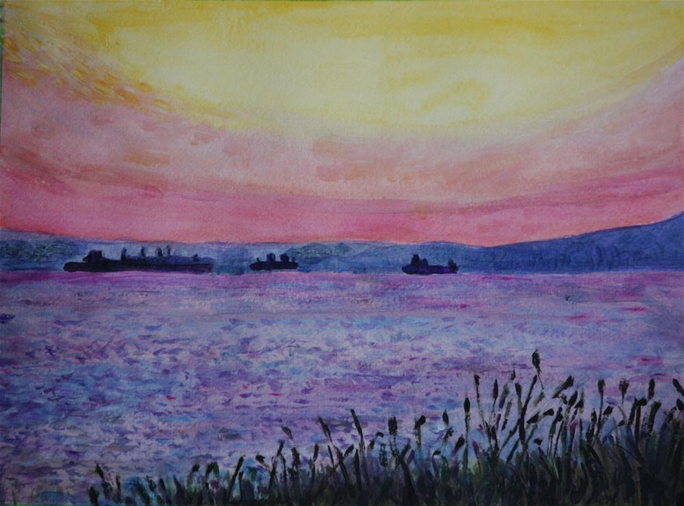 """Freighters in English Bay"" original fine art by Terri-Anne Barge"