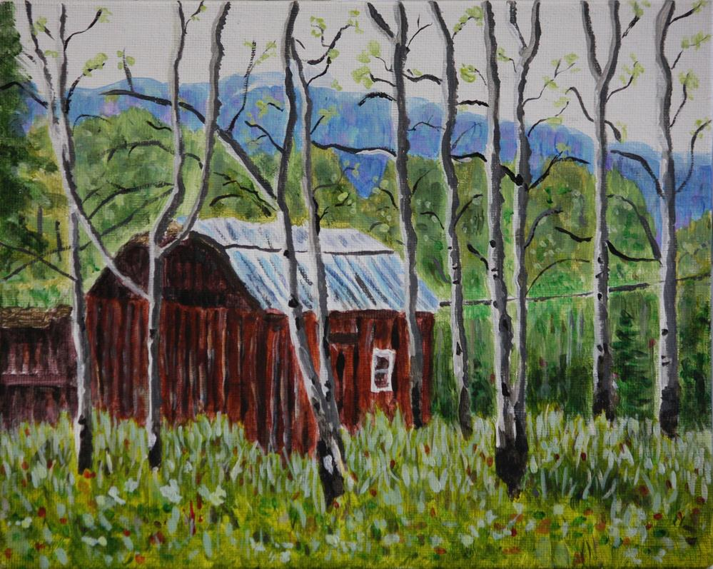 """Cabin In the Forest"" original fine art by Terri-Anne Barge"
